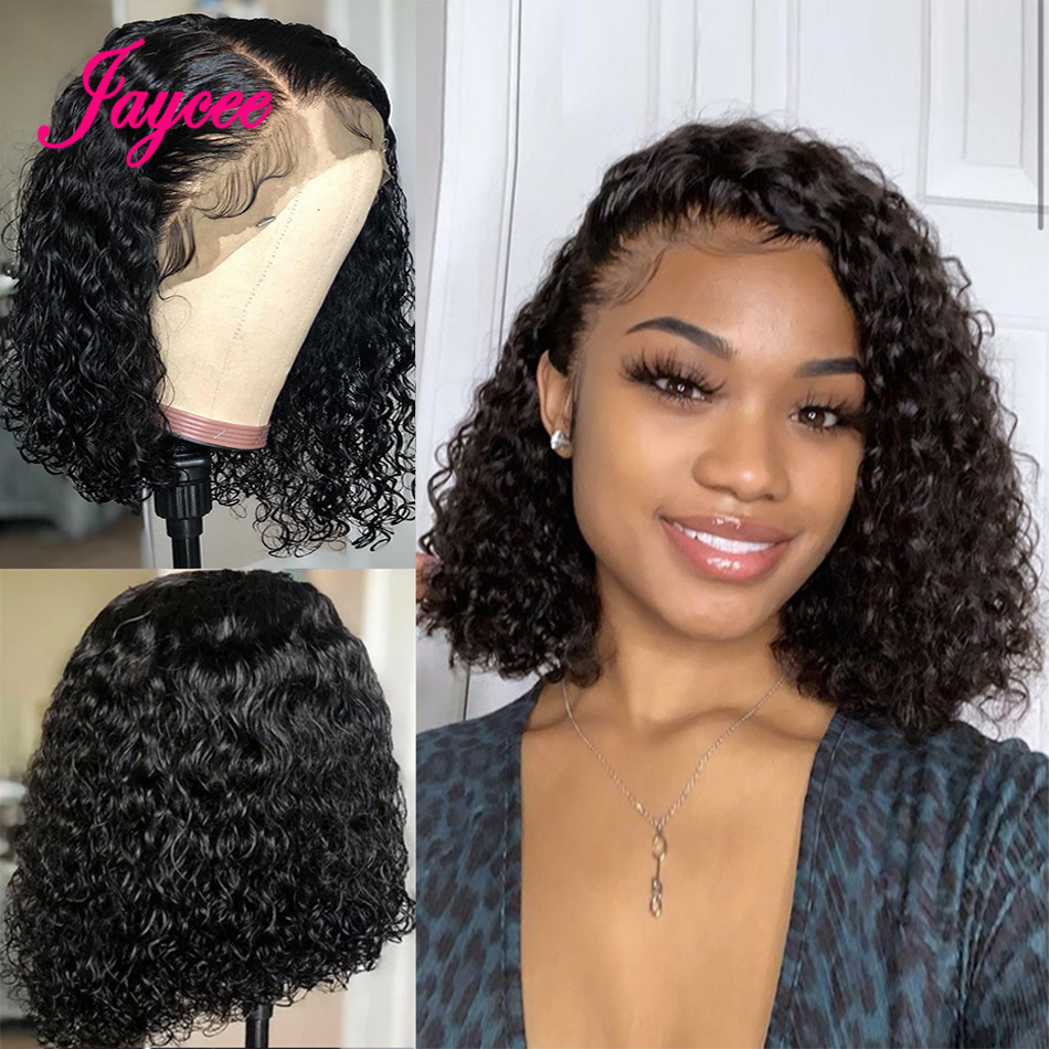 Malaysian Lace Human Hair Wigs Short Bob Curly Human Hair Wig 4*4 Lace Closure Wig For Black Women Pre-Plucked With Baby Hair