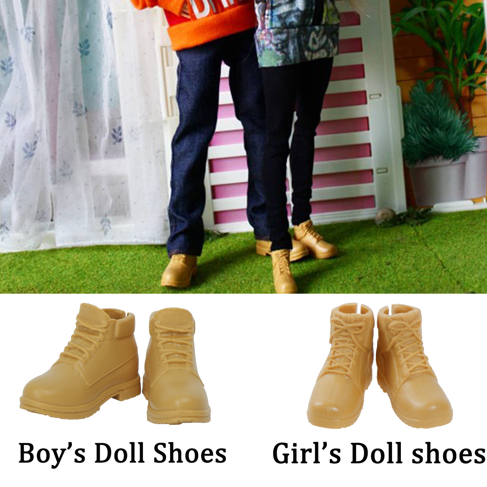 2 Pairs / Lot High Quality Doll Shoes For Barbie Doll Ken Couple Sport Shoes Yellow Flat Shoes Casual Daily Wear Accessories Toy