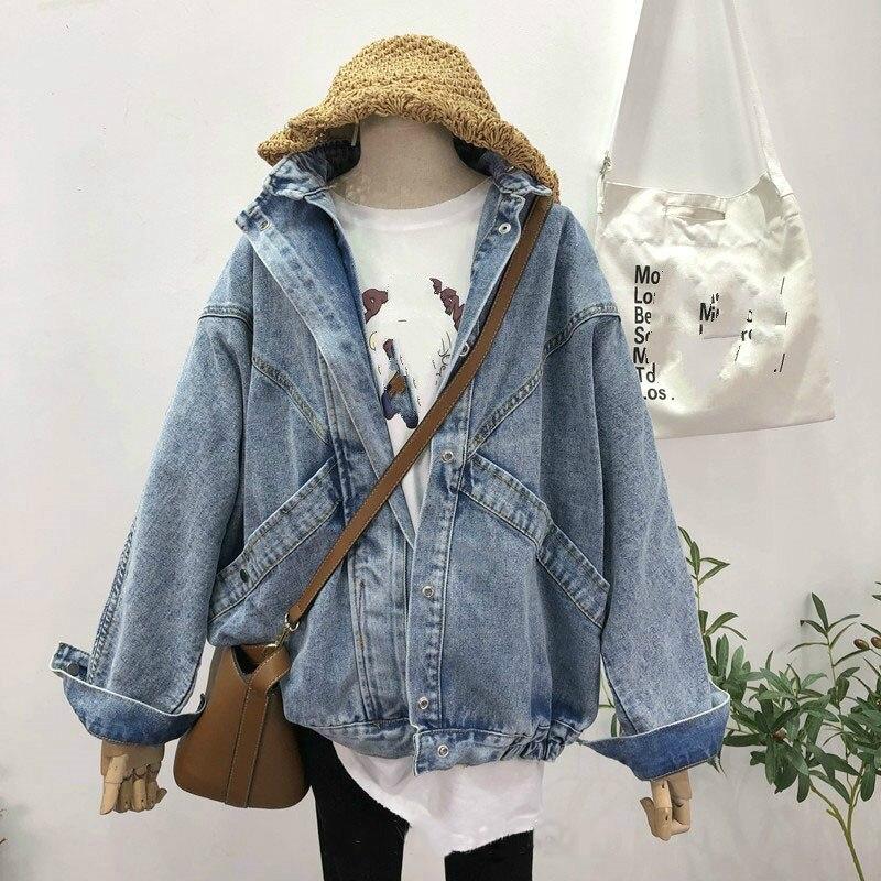 2019 Plus Size Vintage Turn-Down Collar Denim   Jacket   Coat Women Streetwear Pockets   Jackets   Long Sleeve Loose   Basic     Jackets