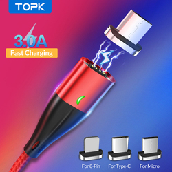 TOPK 1M 3A Magnetic Cable Fast Charging Type C Cable For iPhone Charger Data Charge Micro USB Cable Quick Charge 3.0 USB C Cable