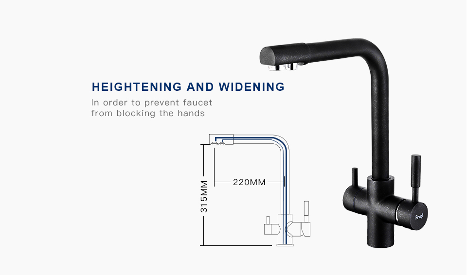 Hc2439d2a839d4e44801ba62ce1583f92B Frap New Black Kitchen sink Faucet mixer Seven Letter Design 360 Degree Rotation Water Purification tap Dual Handle F4352 series