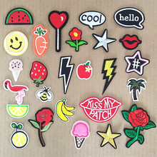2019 Fashion DIY Cartoon Written Words Patch Embroidered Cute Badges Hippie Iron On Kids Patches For Clothes Stickers 26 style(China)