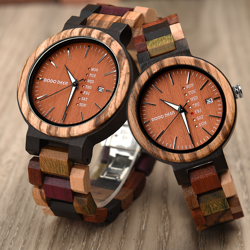 DODO DEER Couple Wooden Watches Quartz Movement Multifunction Watch Male Female Wooden Watches Clock A22-5 A22-6
