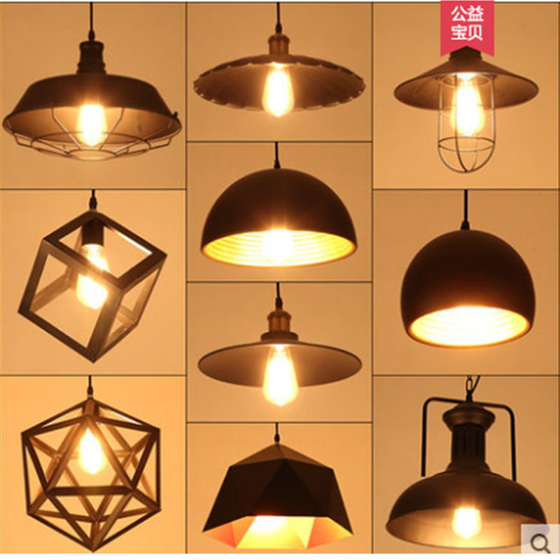 American Vintage Industrial Style Iron Art Simple Living Room Bar Counter Restaurant Clothing Store Single head Pot Cover Lamps|Downlights| |  - title=