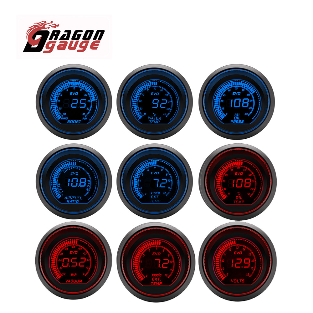 DRAGON GAUGE 52mm Tachometer Voltage Water Temp Oil Temp Oil Press Boost Vacuum Air Fuel Ratio Exhaust Temp LED Digital Display
