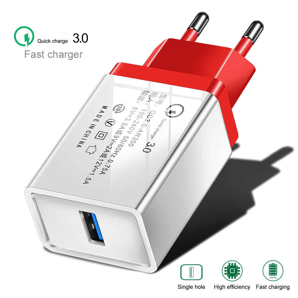 USB Charger Quick Charge 3.0 2.0 Travel Wall Fast Charging Adapter For iPhone XR Samsung S8 Tablet EU Plug Mobile Phone Chargers