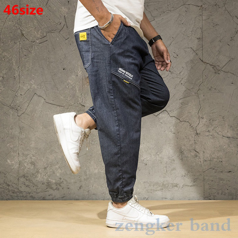 Youth denim trousers plus size men's nine-point pants plus size pants tide oversized jean men pants brand fashions