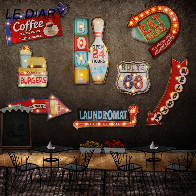 LEDIARY Restaurant Bar LED Wall Lamp Cafe Decor Big Sconce Lighting Iron Art Route 66 Cola Ice Cream Remote Control Wall Lights