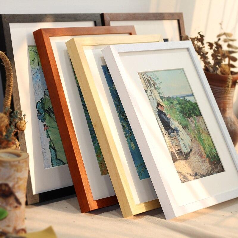 Черно-белая деревянная цветная фоторамка А4 А3 деревянная рамка природа твердая настенная Монтажная фурнитура в комплекте без картона