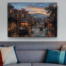 Картина на холсте пейзаж искусство город ночь постеры художественные