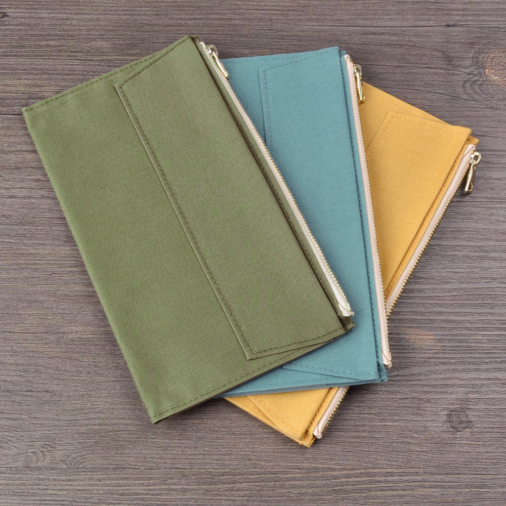 Image 4 - 50 Pieces / Lot Standard Regular Size 210x120 mm Canvas Zipper Pocket For Notebook Accessory Olive Green Card Holder Storage BagFile Folder   -