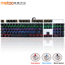 Genuine Metoo Russian/English Gaming Mechanical Keyboard Anti-ghosting LED Backlit 87/104 keys USB wired Keyboard for PC gamers metoo edition backlit led gaming mechanical keyboard 87 104 keys blue black red switch genuine wired keyboards russian english