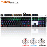 Genuine Metoo Russian/English Gaming Mechanical Keyboard Anti ghosting LED Backlit 87/104 keys USB wired Keyboard for PC gamers