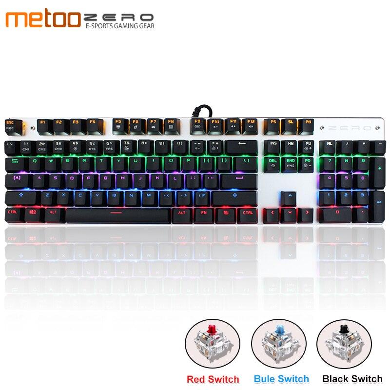 Metoo Russian/Spanish Gaming Keyboard Mechanical Switch 87/104 Keys LED Backlit USB Wired Laser Ergonomics Keyboard For Pc Gamer