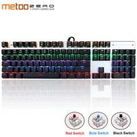 Original Metoo Gaming mechanical keyboard 87/104 keys LED Backlit USB Wired English/Russian/Spanish Keyboard for Computer gamer