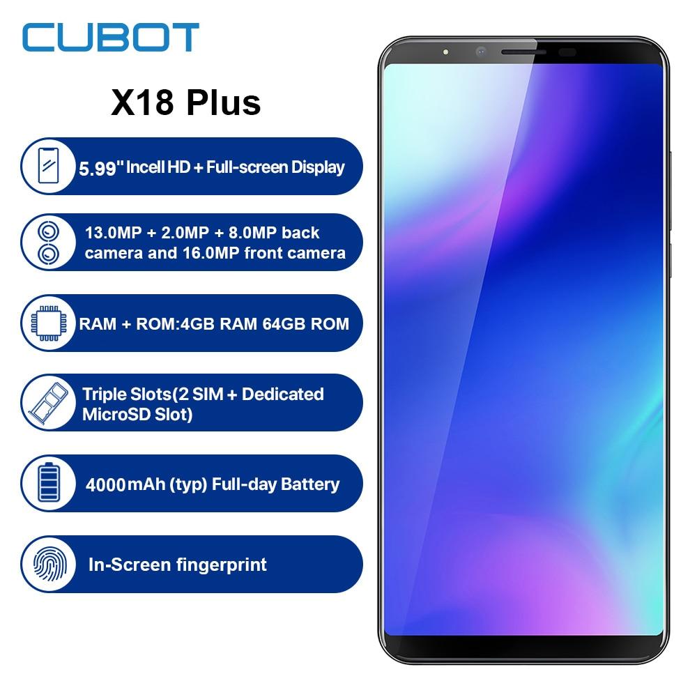 Remodelado cubot x18 plus 4g smartphone 5.99 android android android 8.0 4 gb ram 64 gb rom mtk6750t octa núcleo duplo cam telefone móvel da ue