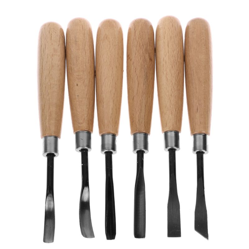 DOERSUPP 6pcs/lot Wood Carving Chisels Knife For Basic Wood Cut DIY Tools And Detailed Woodworking Gouges Hand Tools