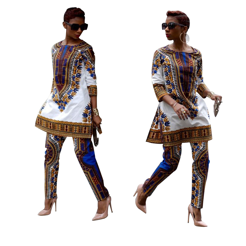 2019 New African Women Clothes Dashiki Rich Bazin Print Casual Traditional African Dresses For Woman Africa Clothing Pant Set