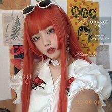 Предварительной продажи Uwowo длинные прямые оранжевый Лолита Химэ вырезать парики косплей жаропрочных синтетические волосы аниме парики партии аниме