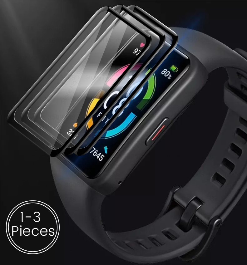 1-3Pcs 9d curved protective glass for huawei honor band 6 glass screen protectors film on honer band6 smart bracelet accessories