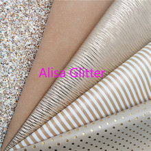Chunky Glitter Fabric Faux-Leather 1PCS Printed for Bow DIY D08F 21x29cm Stripes A4-Size