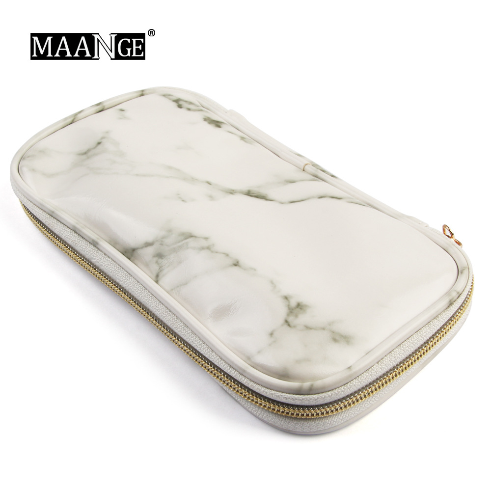Factory Direct MAANGE Portable Marble Makeup Brush Bag Makeup Tools Makeup Bag Cross-border Sales
