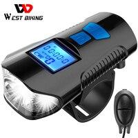 Luz frontal para bicicleta a prueba de agua, linterna recargable por USB con ordenador, velocímetro LCD, bocina