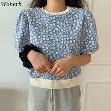 Woherb 2021 Printemps été O-cou Mince Tricoté Pull Femmes Floral T-shirt Lâche Décontracté Coréen Chic Manches Bouffantes Doux T-shirts