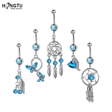 hot sale 2pc fashion sexy night glow luminous acrylic dangle belly ring surgical women navel piercing helix ball body jewelry 1PC Zircon Dream Catcher Belly Button Ring Crystal Belly Bars Sexy Stainless Steel Dangle Navel Piercing Women Body Jewelry 14G