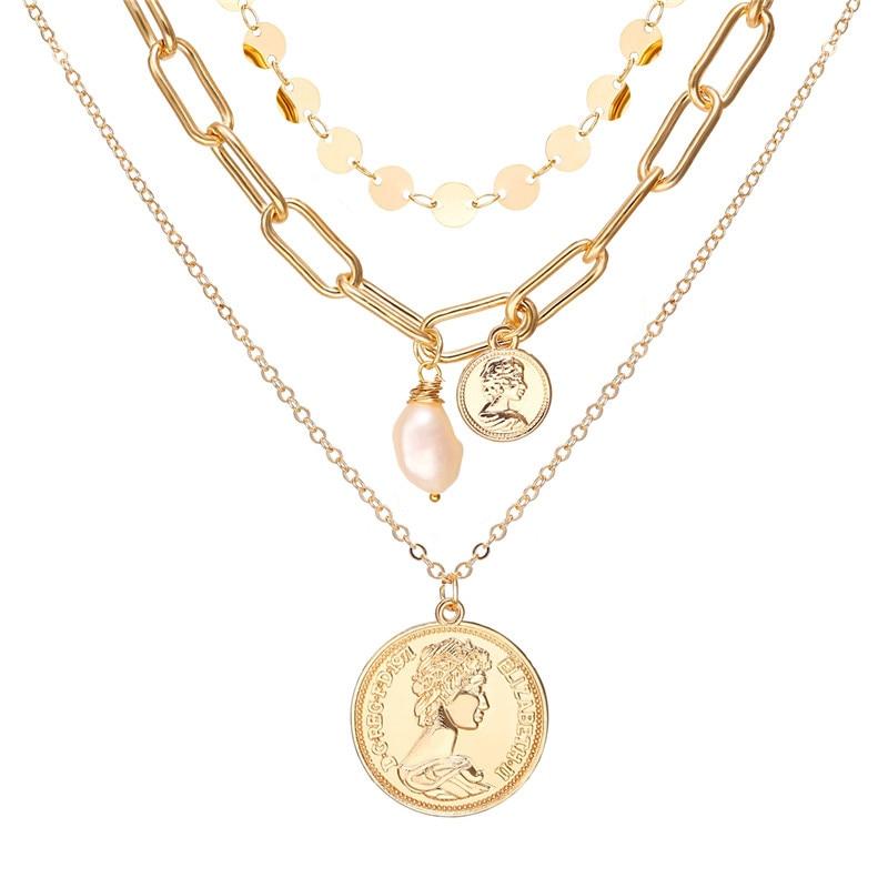 17 км винтажная Золотая монета с портретом, жемчужное ожерелье с подвеской s для женщин, богемное Модное Длинное Ожерелье из муклтилятора с жемчугом, ювелирное изделие - Окраска металла: CS5213