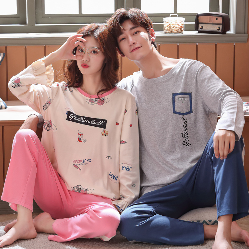 Wontive Men's Pajamas Women's Pajamas Spring Men Pure Full Cotton Pajamas Set Long Crew Neck Sleeve Pijama Set For Male