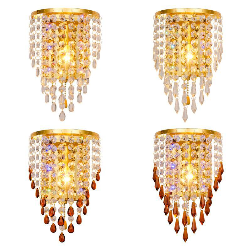 Led Golden Crystal Wall Lamp Creative Individuality Bedroom Bedside Led Decor Wall Lights Modern Living Room Wallway Lamps