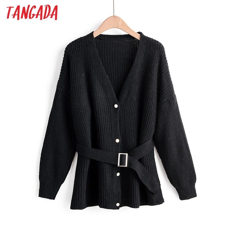 Tangada  Autumn Winter Black Cardigan Coat Sashes Vintage 2019 Women Jumper Office Lady Fashion Tunic Knitted Coat SL03