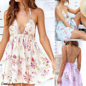 Ladies Sexy Deep V Floral Beach Dress Evening Cocktail Party Sundress Fashion Halter Sling Halter Back Floral Beach Dress фото