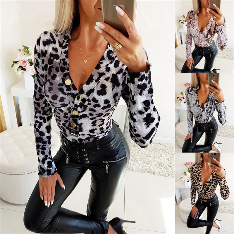 Women OL Leopard Print Deep V-neck Long Sleeve Shirt Blouses Tops Clubwear Slim Fit Button Down Blouse Bodycon Shirt Outwear New image