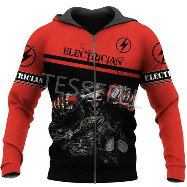 Tessffel Professional Electrician and Welder 3d Printed Hoodies Jacket Sweatshirts Zipper Casual Pullover Tracksuit Coat E2 3
