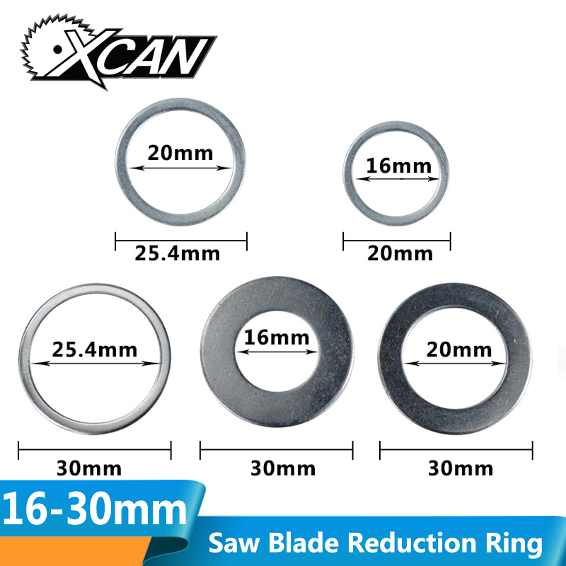 XCAN 2pcs 16mm-30mm Circular Saw Blade Reduction Ring TCT Carbide Cutting Disc Conversion Ring Woodworking Tools