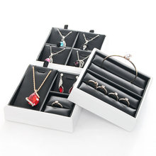 Necklace ring earrings display tray groove fashion jewelry cufflink organizer holder case, frame d