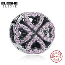 Eleshe 925 Sterling Zilver Charm Bead Roze Clear Cz Charms Fit Originele Armbanden Ketting Hanger Authentieke Sieraden Maken(China)