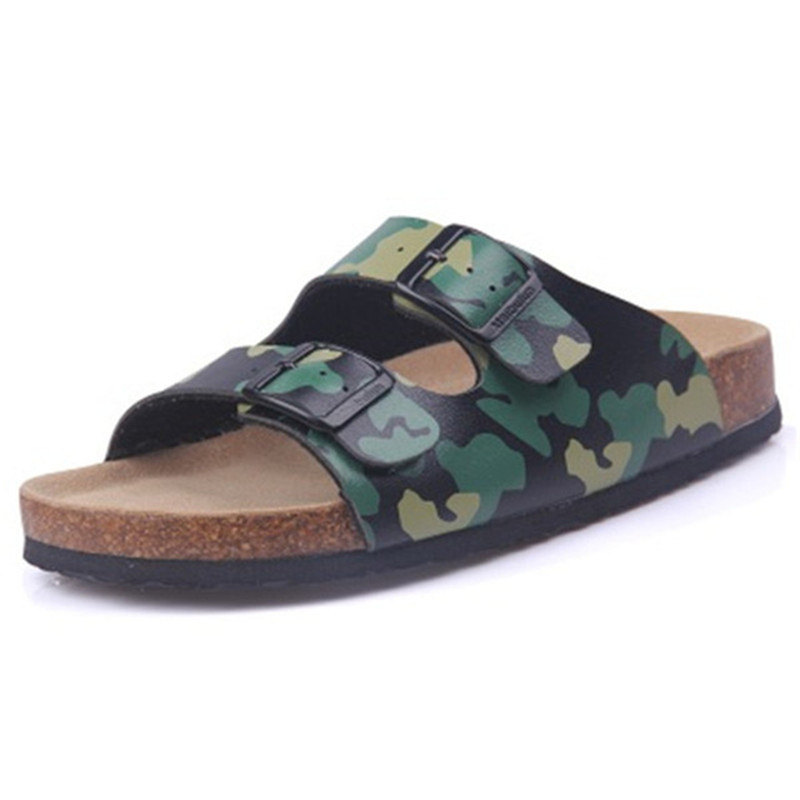 New Summer Man Flats Beach Valentine Cork Slippers Sandals Casual Double Buckle Clogs Slides Men Flip Flops Shoe Plus size 35 45 in Flip Flops from Shoes