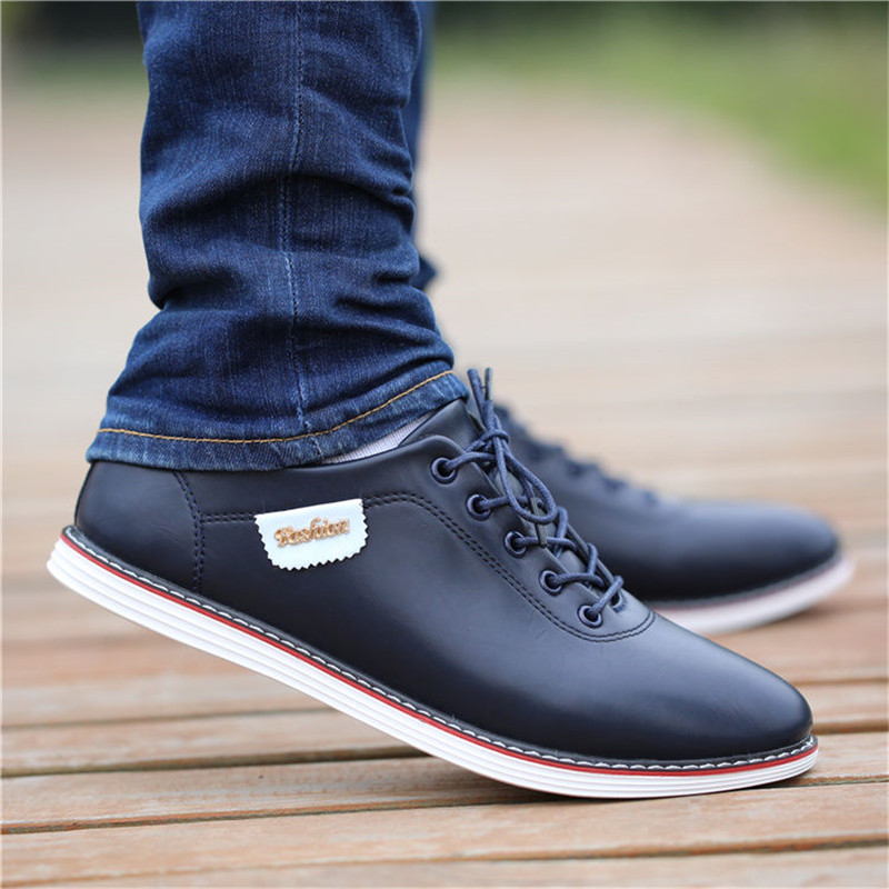Men Shoes PU Leather Casual Shoes Men's British Style Business Shoes Lace Up Men Loafers Sneakers Black Walking Footwear Zapatos