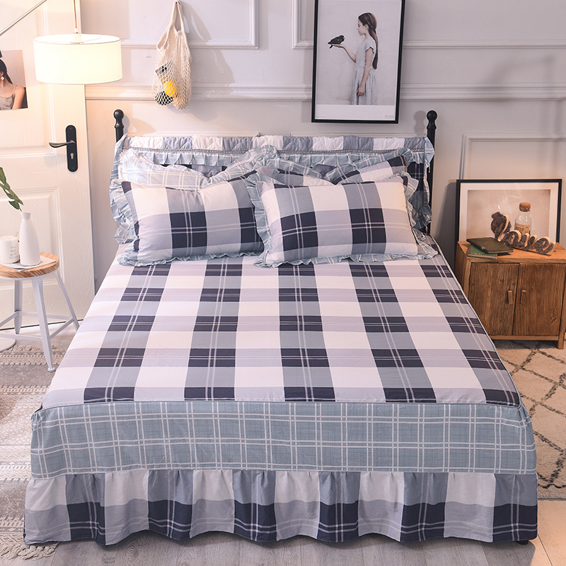 Home Textile 100% Cotton bed skirt scallop fitted sheet set <font><b>200</b></font>*220 flower bedspread Reactive Printing bed linens 3pcs bed cover image