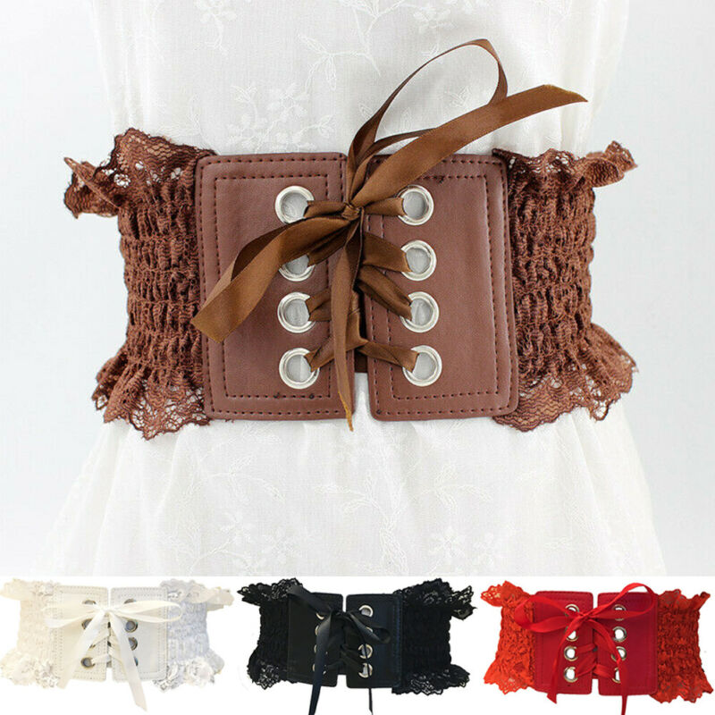 France Vintage Stylw Women Wide Skinny Bowknot Waist Belt Elastic Lace Stretch Cinch Dress Waistband Belts