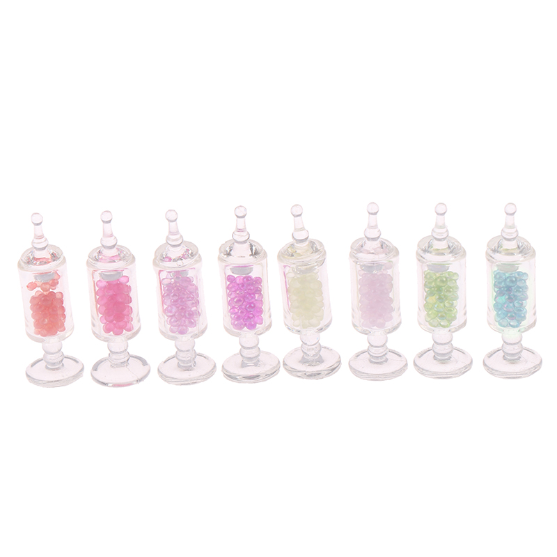 1/12 Dollhouse Miniature Accessories Mini Resin Candy Jar Simulation Candy Bottle Model Toy For Doll House Decoration
