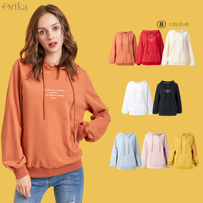 ARTKA 2019 Autumn New Women Sweatshirt Letter Embroidery Sweatshirts Multicolor Loose Casual Hooded Sweatshirt Women VA10692Q
