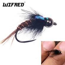 Wifreo tungstène perle tête sans barre Jig crochet Flash dos faisan queue nymphe mouche truite pêche Flie rapide naufrage pêche leurre