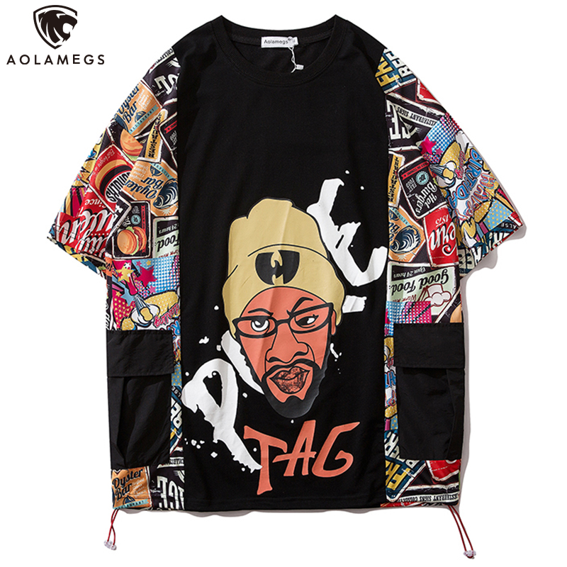 Aolamegs Men's T Shirt Side Patchwork Pockets Casual High Street Loose Retro Hip Hop Style Advanced Couple Streetwear Summer
