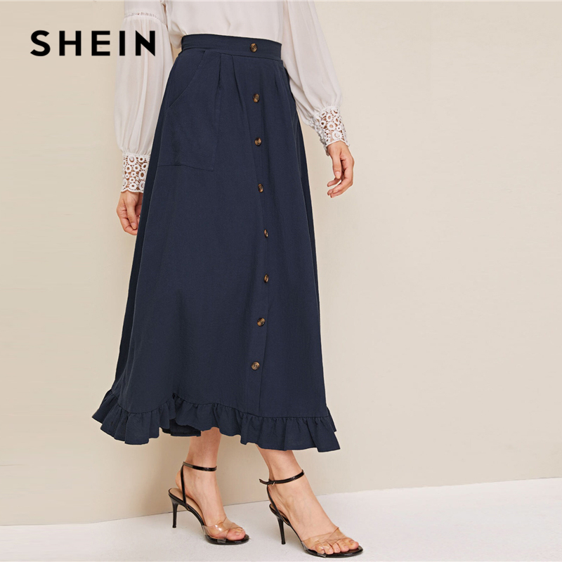 SHEIN Abaya Navy Button Front Ruffle Hem Skirts Womens Spring Autumn High Waist Solid Flared A Line Casual Long Skirt 2