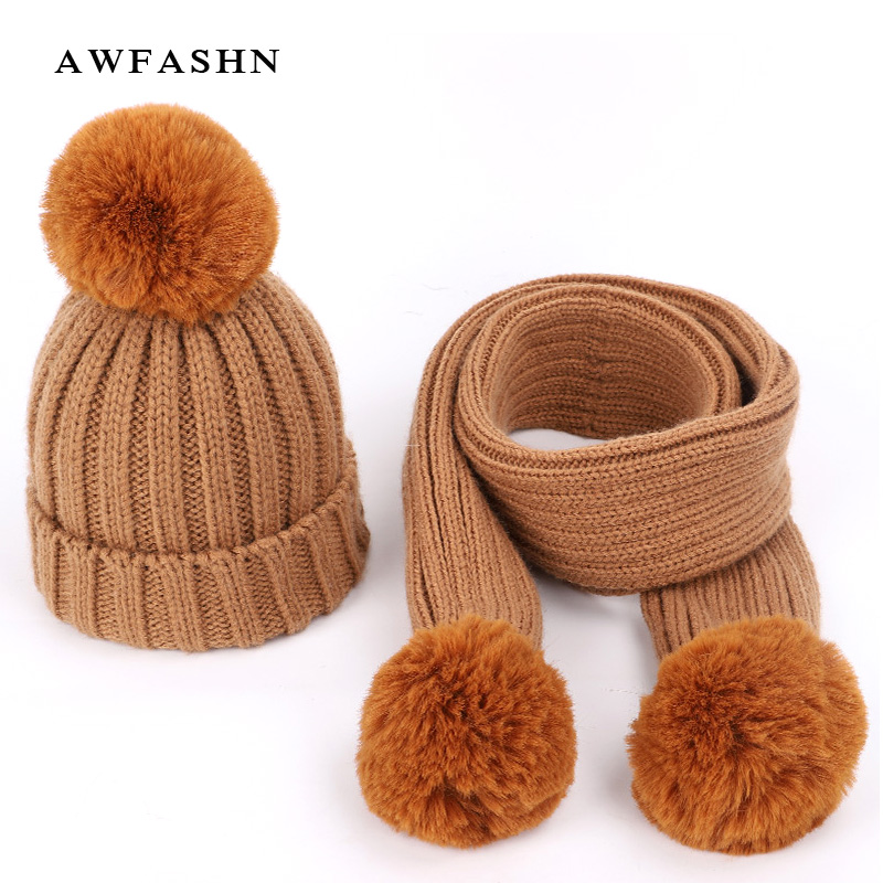 2018 New Fashion Children's Knit Beanies Hat Scarf 2 Pieces Set Winter Boy Girl Soft Cap Scarves Solid Color Pompom Baby Kids