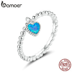 bamoer S925 Sterling Silver CZ Deep Blue Heart Finger Ring for Women Plated platinum Engagement Wedding Statement Jewelry SCR672